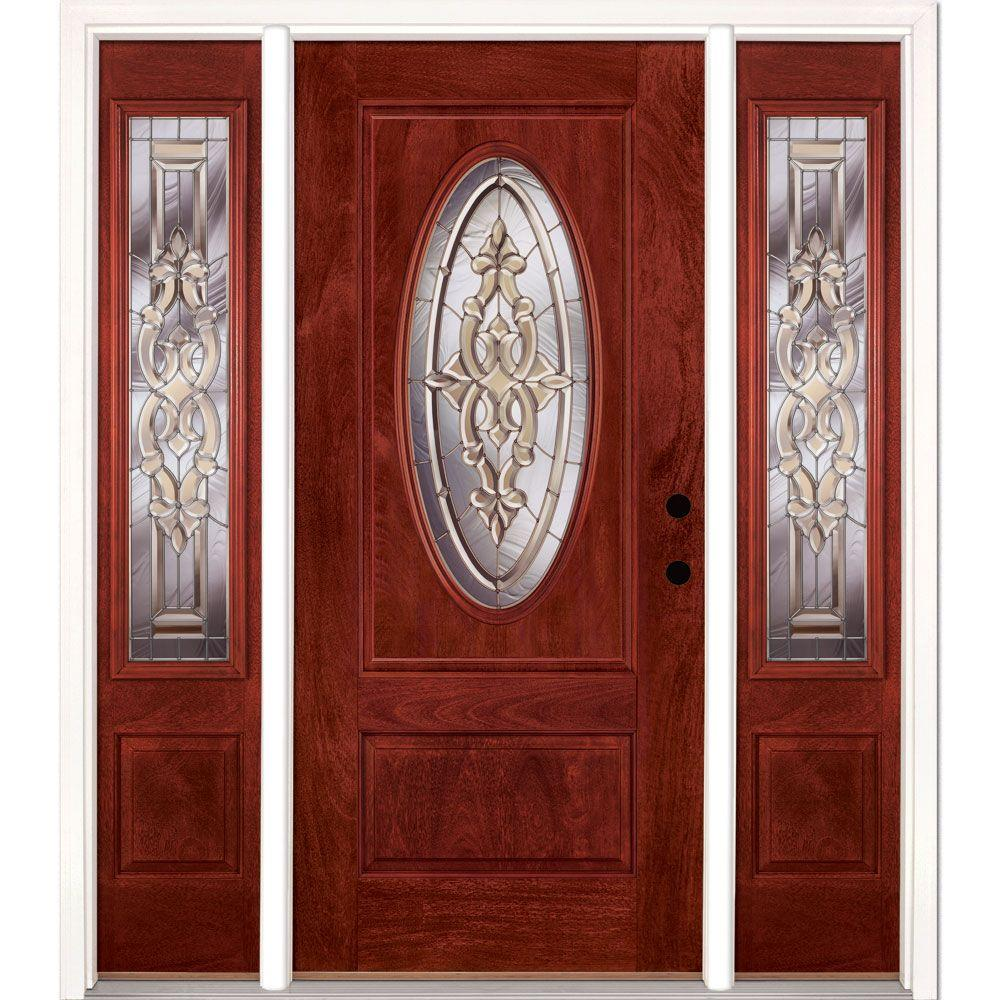 59.5 in.x81.625in.Silverdale Zinc 3/4 Oval Lt Stained Cherry Mahogany Left-Hd