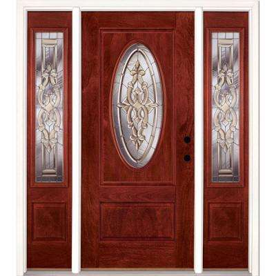59.5 in.x81.625in.Silverdale Zinc 3/4 Oval Lt Stained Cherry Mahogany Left-Hd Fiberglass Prehung Front Door w/ Sidelites