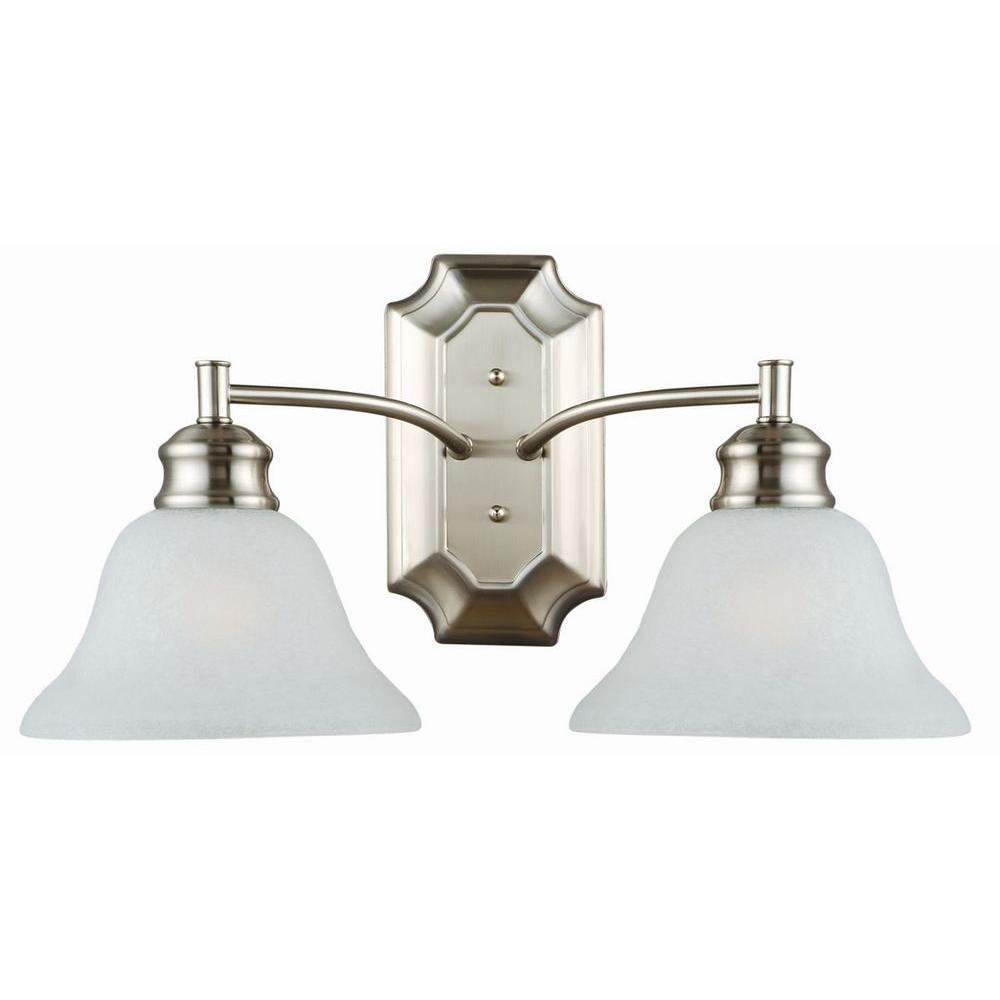Bristol 2-Light Satin Nickel Wall Mount Bath Vanity Light Alabaster Glass Shades