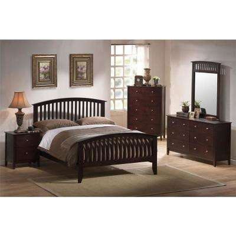 Saranda 5-Piece Cappuccino King Bed, Dresser, Mirror, 2-Nightstands Bedroom Suite