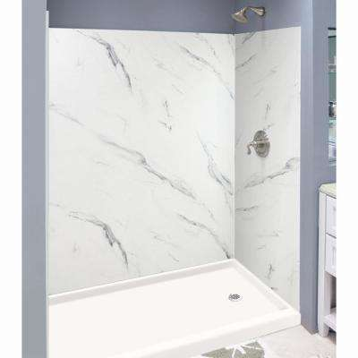Expressions 36 in. x 60 in. x 72 in. 3-Piece Easy Up Adhesive Alcove Shower Wall Surround in Bianca