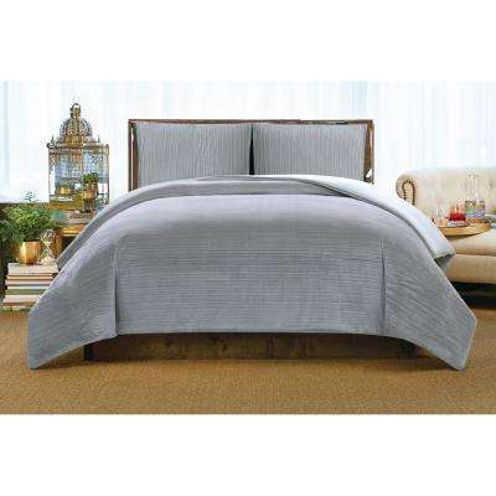 Crinkle Velvet Platinum Full/Queen Comforter Set