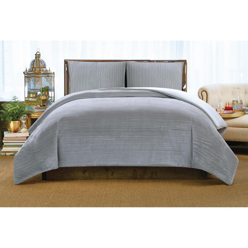 Crinkle Velvet Platinum King Comforter Set