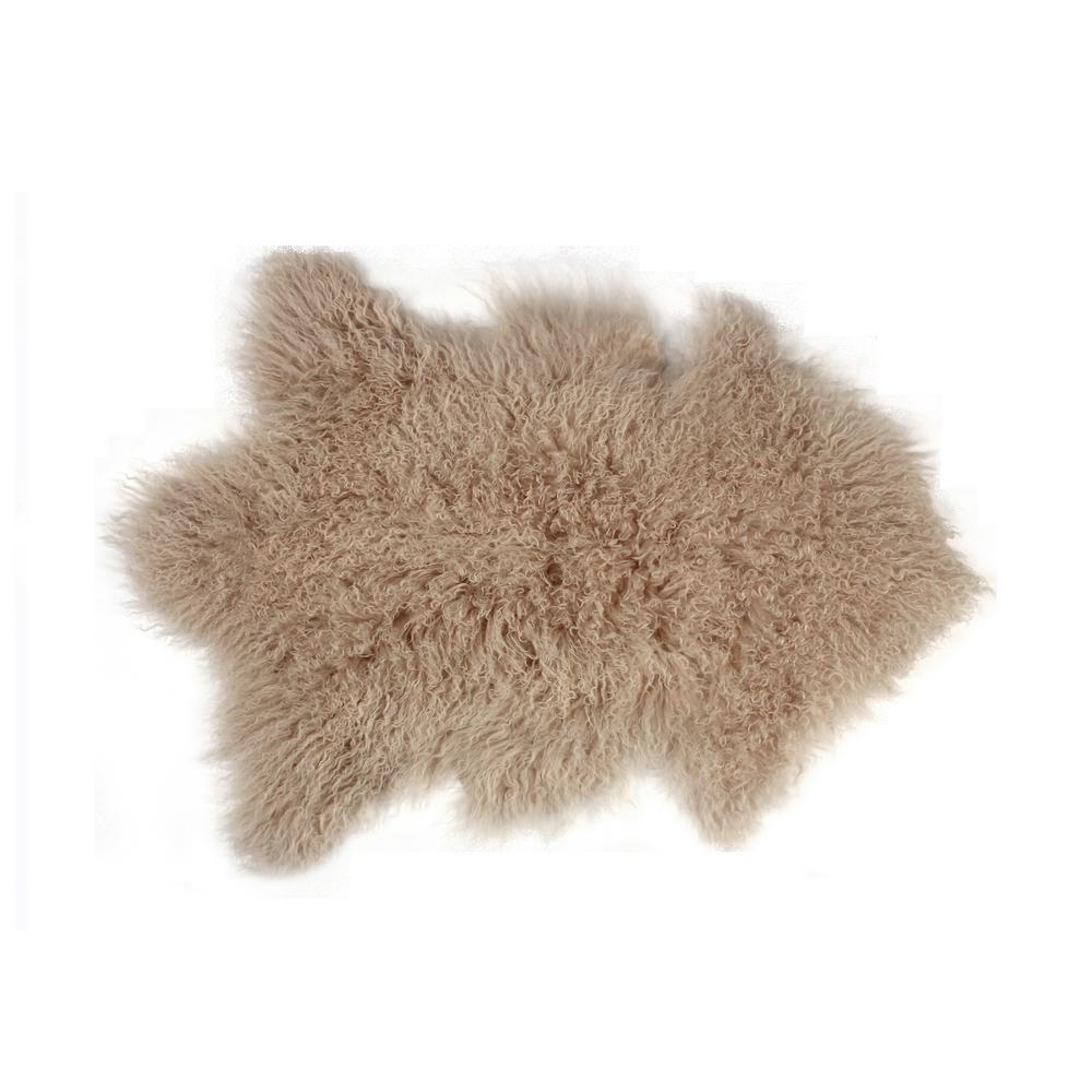 Luxe L Faux Fur Rockwall Tan 2 Ft X 3 Mongolian Sheepskin Single Indoor Rug