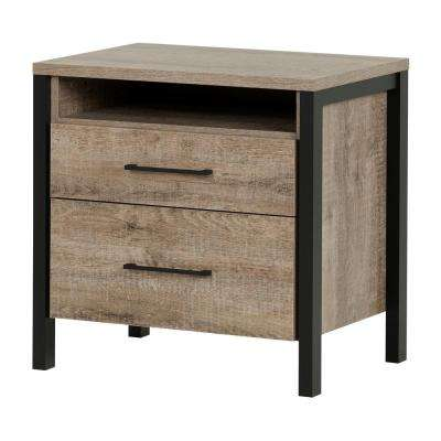 Munich 2-Drawer Weathered Oak Nightstand