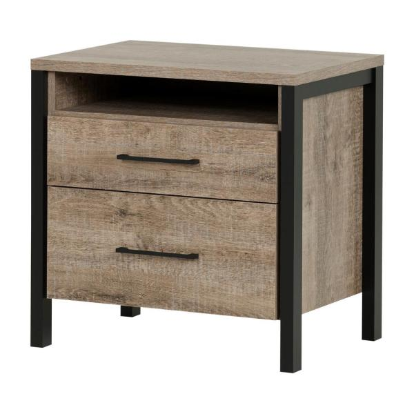 South Shore Munich 2-Drawer Weathered Oak Nightstand 10493