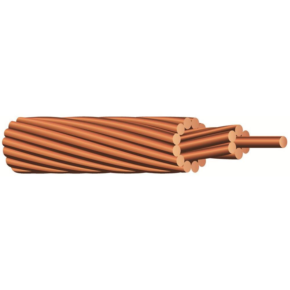 Southwire 125 ft. 2-Gauge Stranded SD Bare Copper Grounding Wire ...