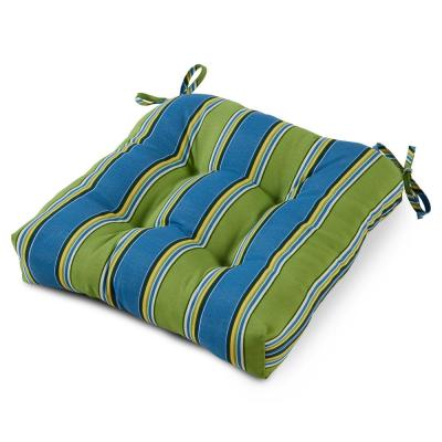 Cayman Stripe 20 in. x 20 in. Tufted Square Outdoor Seat Cushion