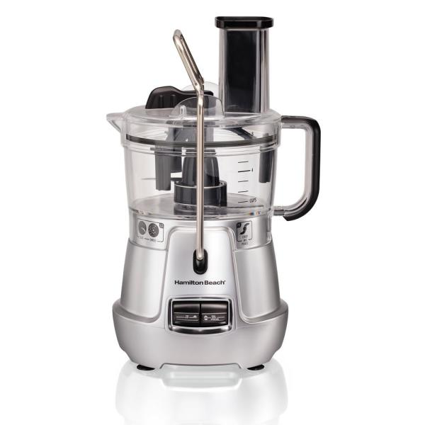 Stack & Snap 8-Cup 3-Speed Silver Food Processor with Built-in Bowl Scraper