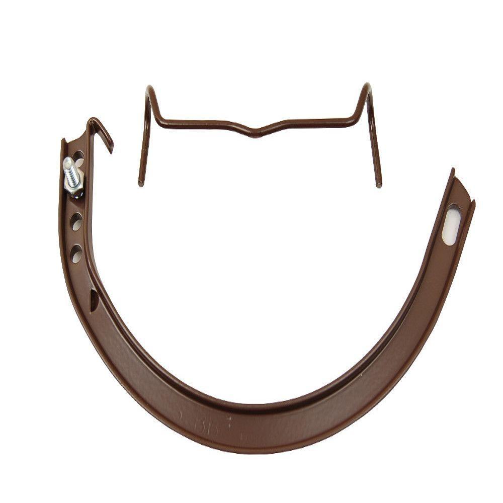 5 in. Royal Brown Half-Round Aluminum Hangers #10 Circle with Spring