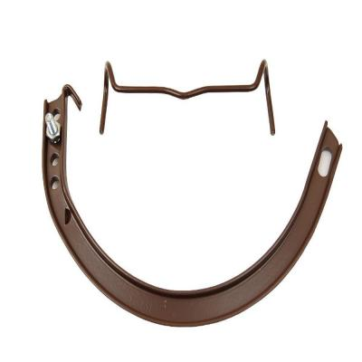 5 in. Royal Brown Half-Round Aluminum Hangers #10 Circle with Spring Clip, Nut and Bolt
