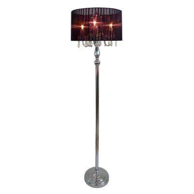 Crystal Palace 61.5 in. Trendy Romantic Black Sheer Shade Chrome Floor Lamp with Hanging Crystals