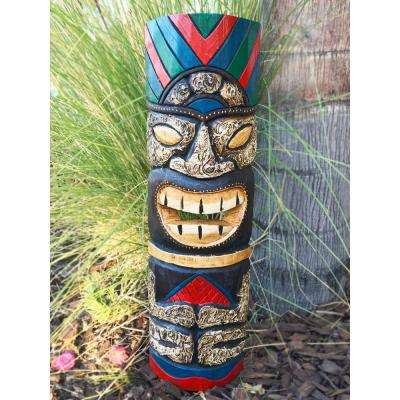 20 in. Tiki Mask Sitting Colorful Hawaiian Wood Art Wall Decor