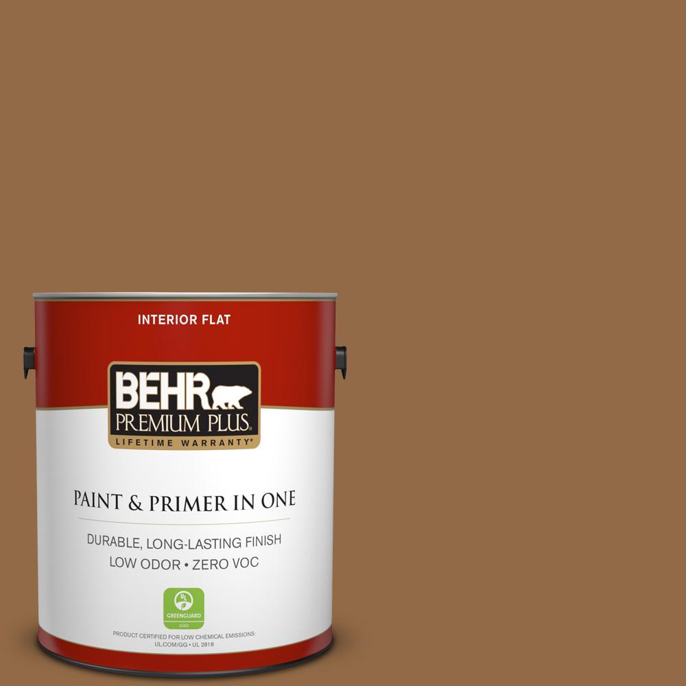 BEHR Premium Plus 1-gal. #S260-7 Nugget Gold Flat Interior Paint