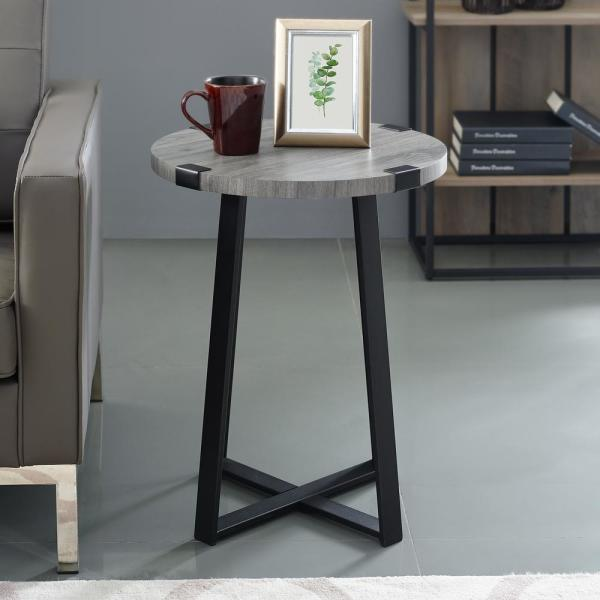 18 in. Slate Grey Urban Industrial Wood and Metal Wrap Round Accent Side Table