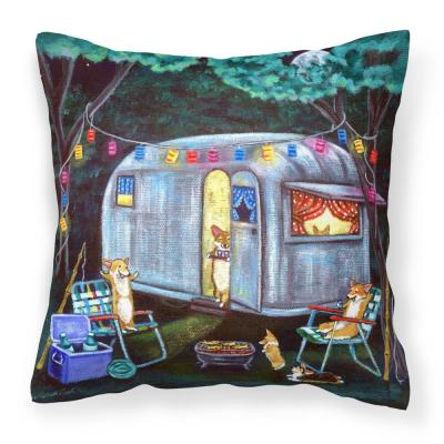14 in. x 14 in. Multi-Color Lumbar Outdoor Throw Pillow Corgi Glamping Fish Tales Trailer