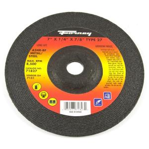 Forney 7 inch x 1/4 inch x 7/8 inch Metal Type 27 Grinding Wheel by Forney