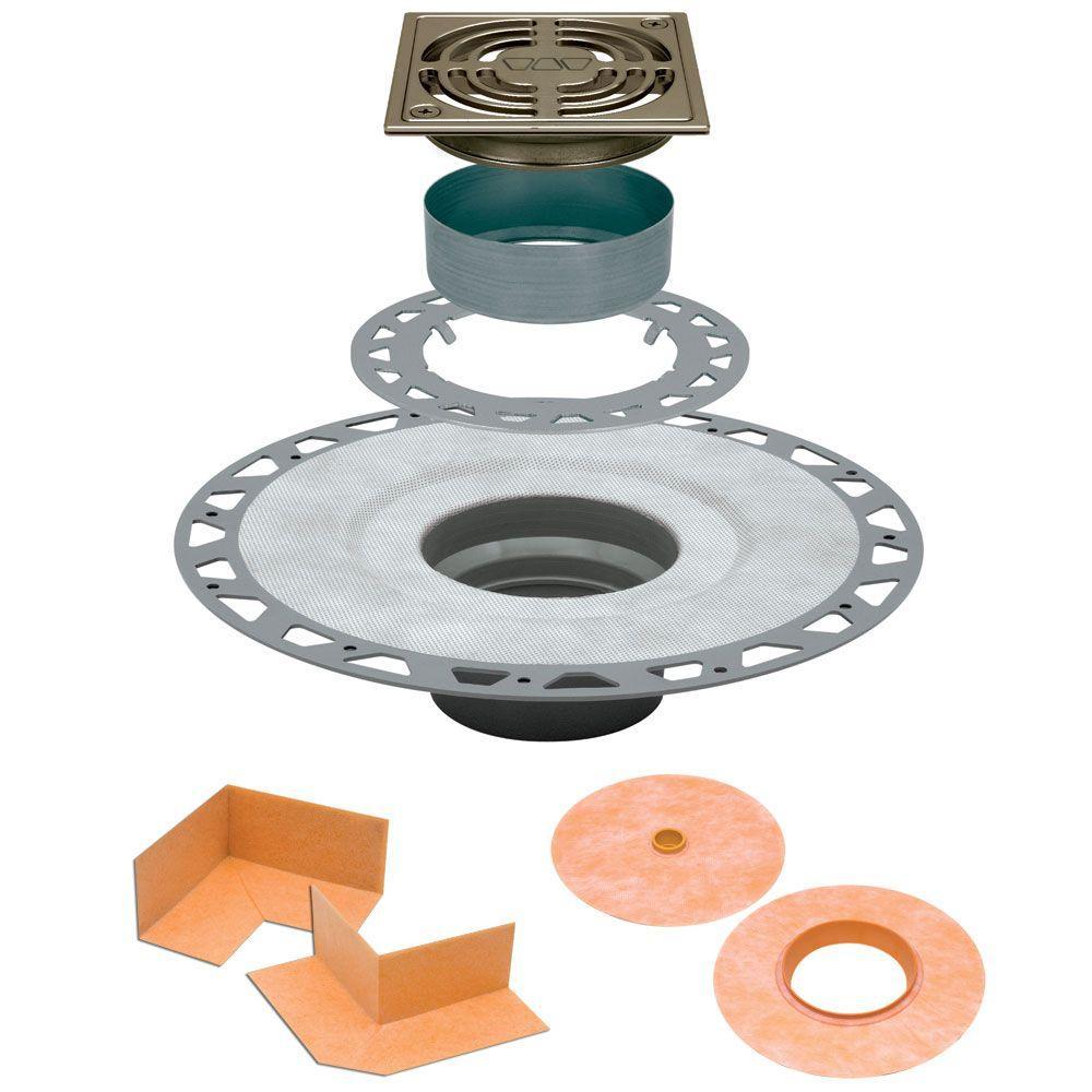 Kerdi-Drain 4 in. x 4 in. PVC Drain Kit in Brushed Nickel Anodized Aluminum