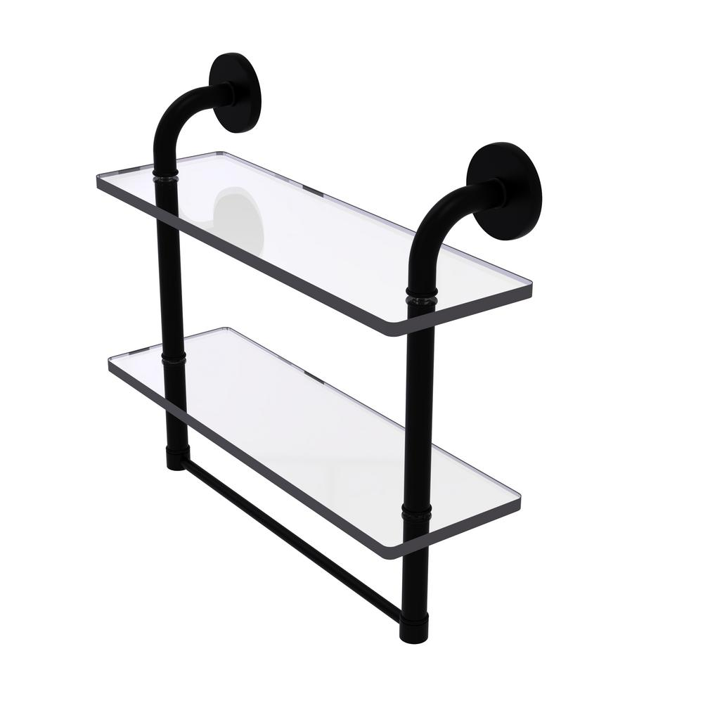 Remi Collection 16 in. 2-Tiered Glass Shelf with Integrated Towel Bar