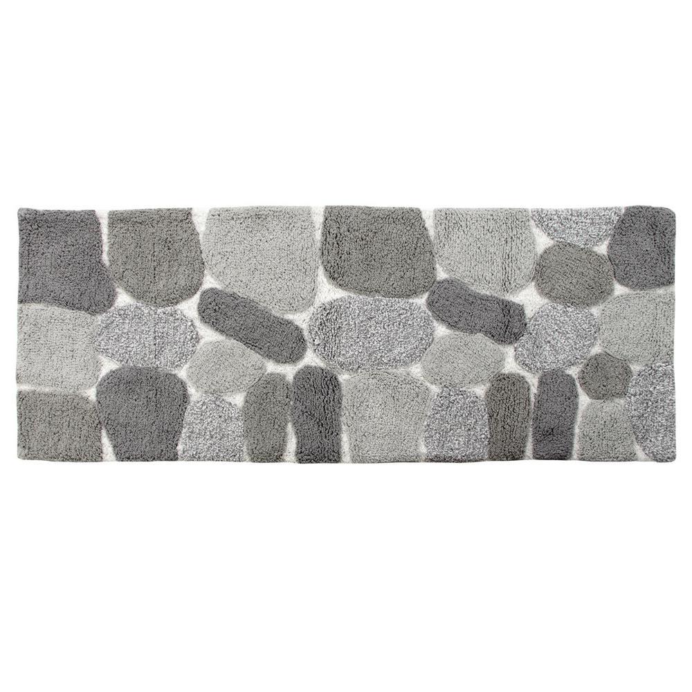 Pebbles Grey 24 in. x 60 in. Bath Rug Runner