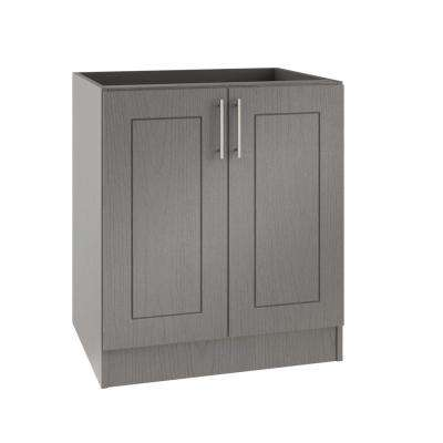 Assembled 36x34.5x24 in. Palm Beach Island Outdoor Kitchen Base Cabinet with 2 Full Height Doors in Rustic Gray