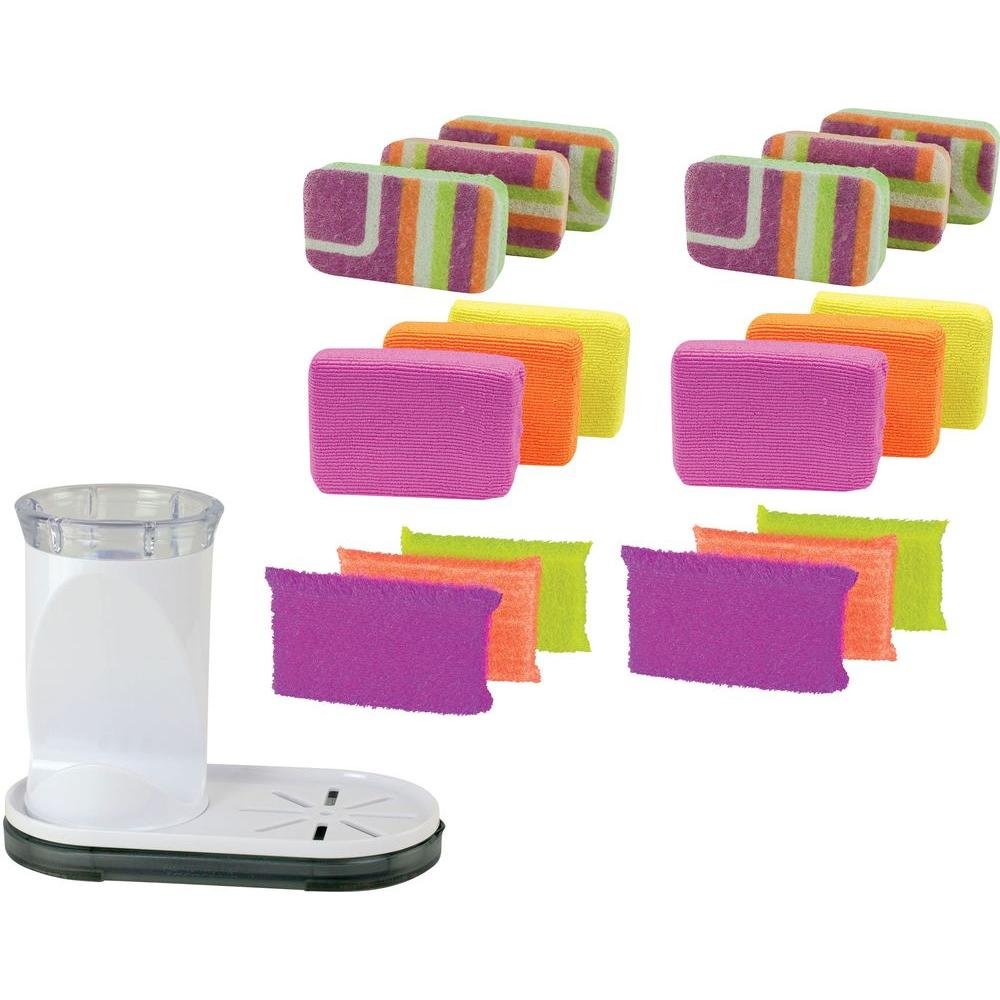 Casabella Sponge Holder With Scrub, Microfiber And Scrubby Sponge 6 Pack