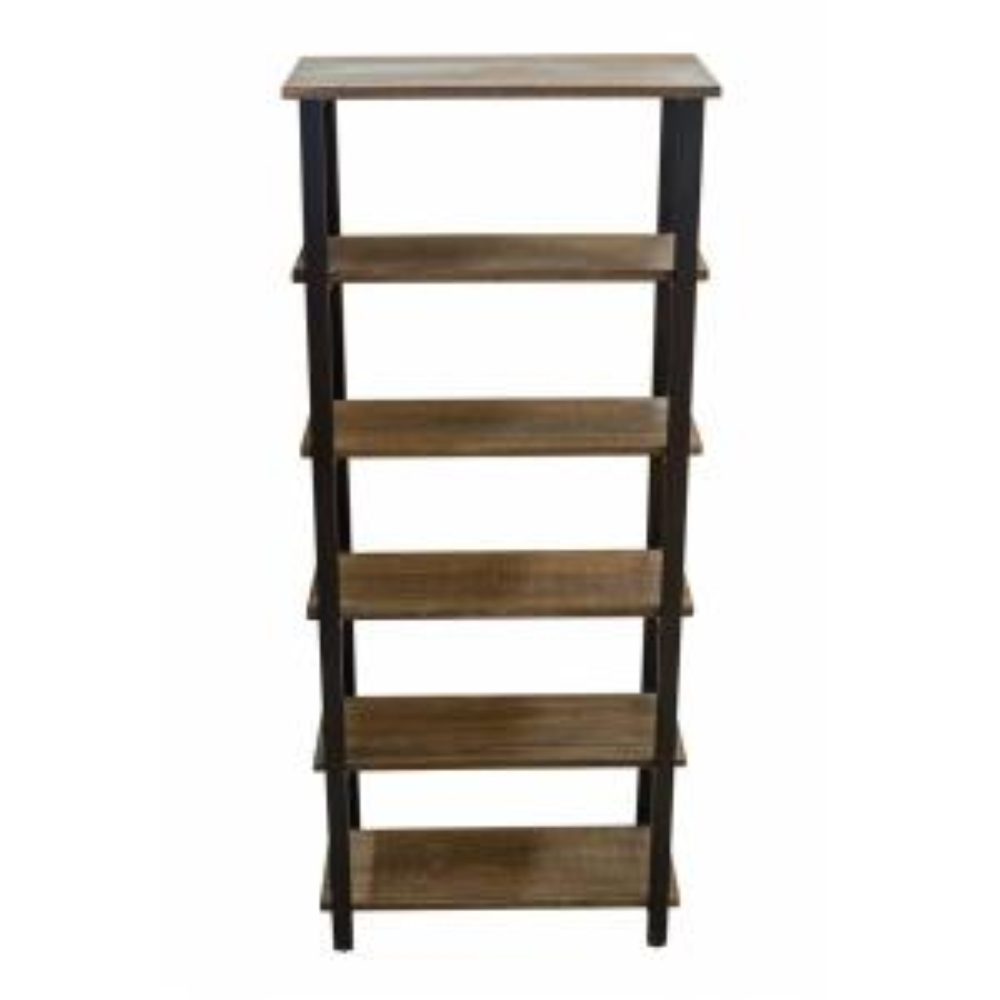 70 in. Natural/Black Metal 5-shelf Etagere Bookcase
