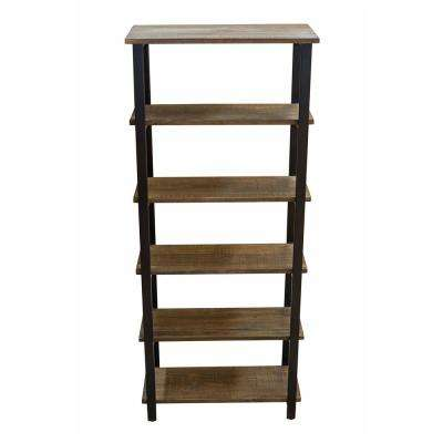 Pomona 70 in. H Natural 5-Shelf Metal and Solid Wood Bookcase