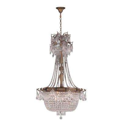 Winchester 10-Light Antique Bronze and Clear Crystal Large Chandelier