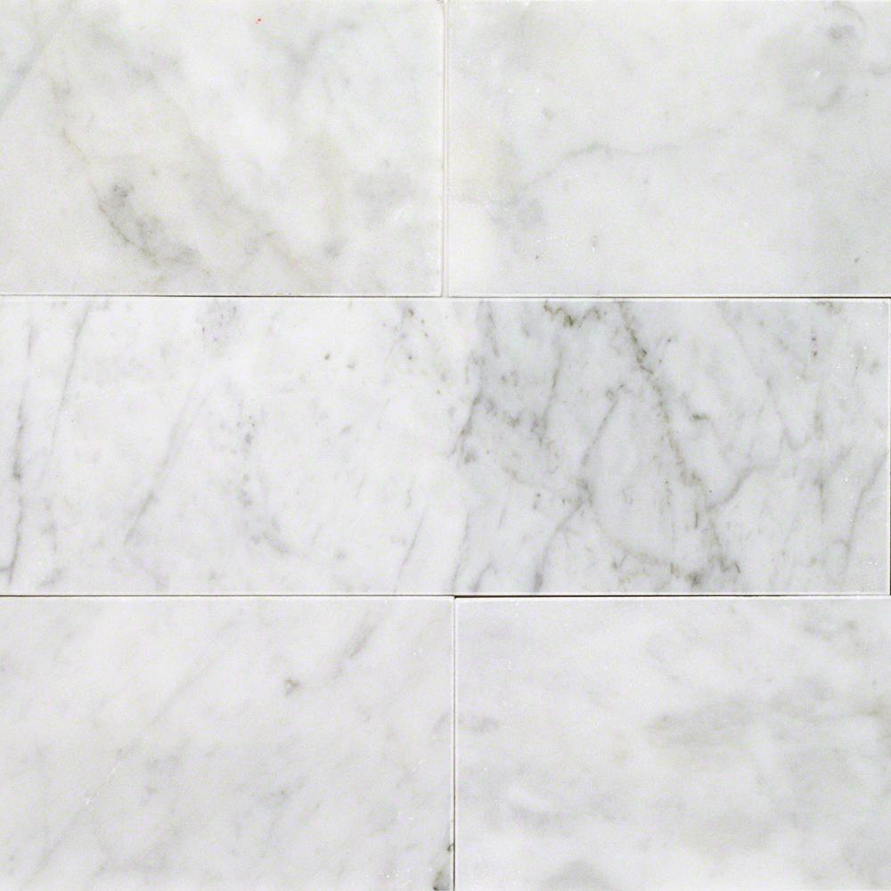 White Carrara 4 In X 12 9mm Polished Marble Subway Tile 30 Pieces 10 Sq Ft Box