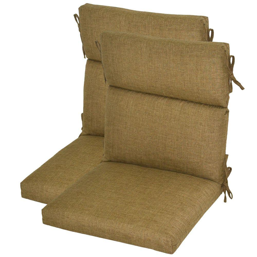 Hampton Bay Bark Textured Deluxe High Back Outdoor Chair Cushion (2-Pack)-DISCONTINUED