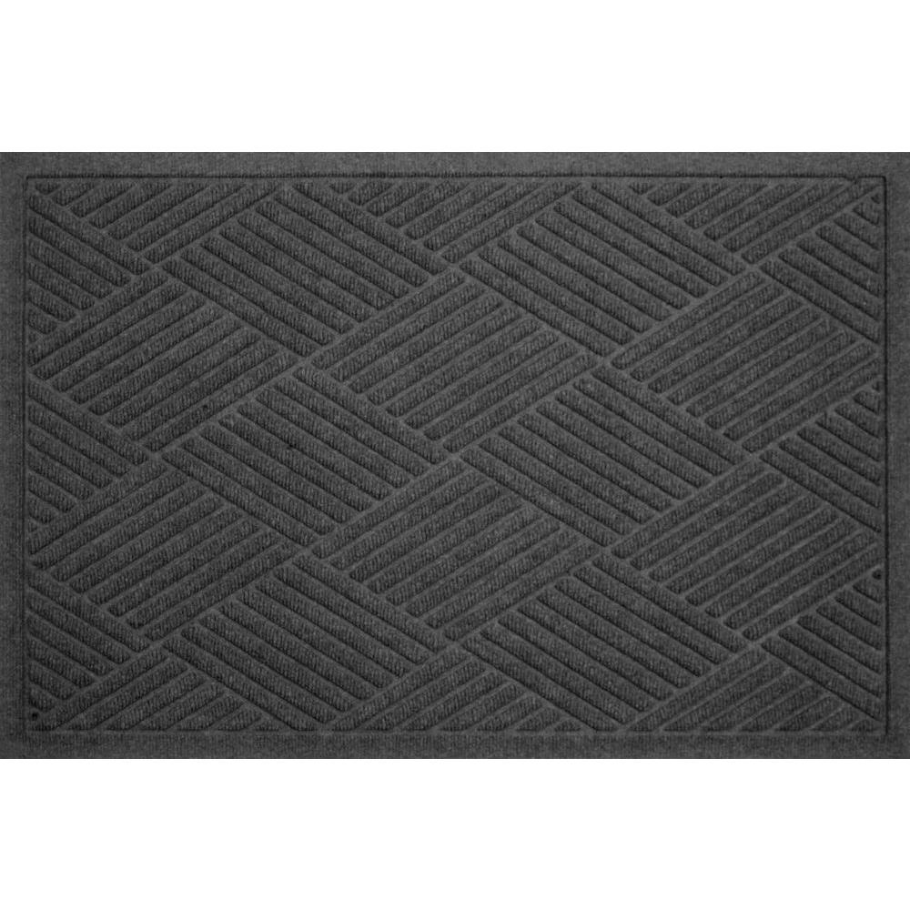 Bungalow Flooring WaterGuard Diamonds Charcoal 2 ft. x 3 ft. Polypropylene Mat