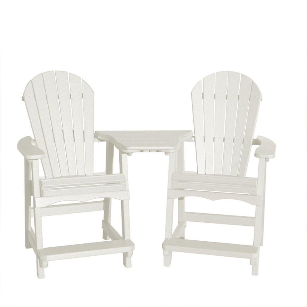 Vifah Roch Recycled Plastic 3-Piece Adirondack Patio Chair and Table Set in White-DISCONTINUED
