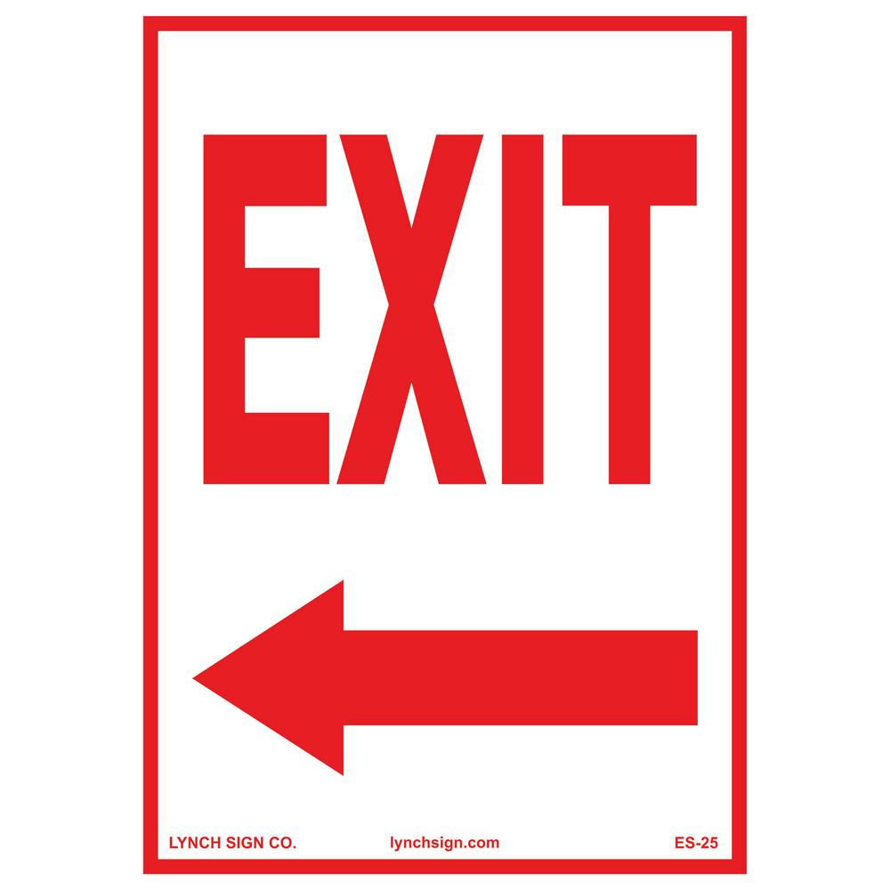 10 In X 14 In Exit Arrow Left Sign Printed On More