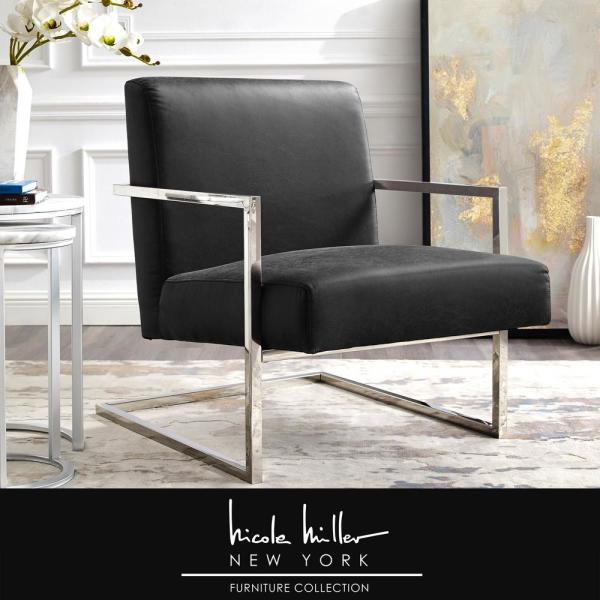 Nicole Miller Konnor Charcoal/Chrome PU Leather Accent Chair with Square Arm