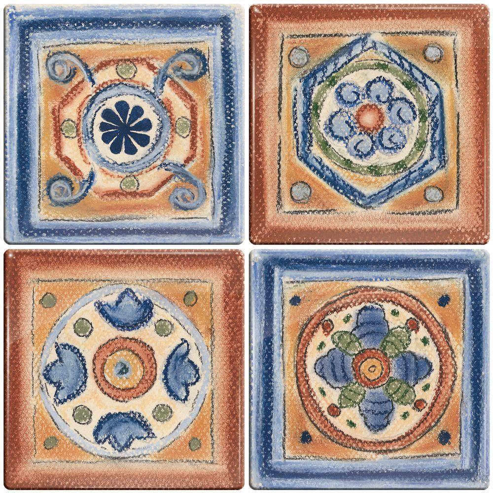 Smart Tiles 3-11/16 in. x 3-11/16 in. Terra Cotta Santa Fe Gel Tile Decorative Wall Tile (4-Pack) - DISCONTINUED