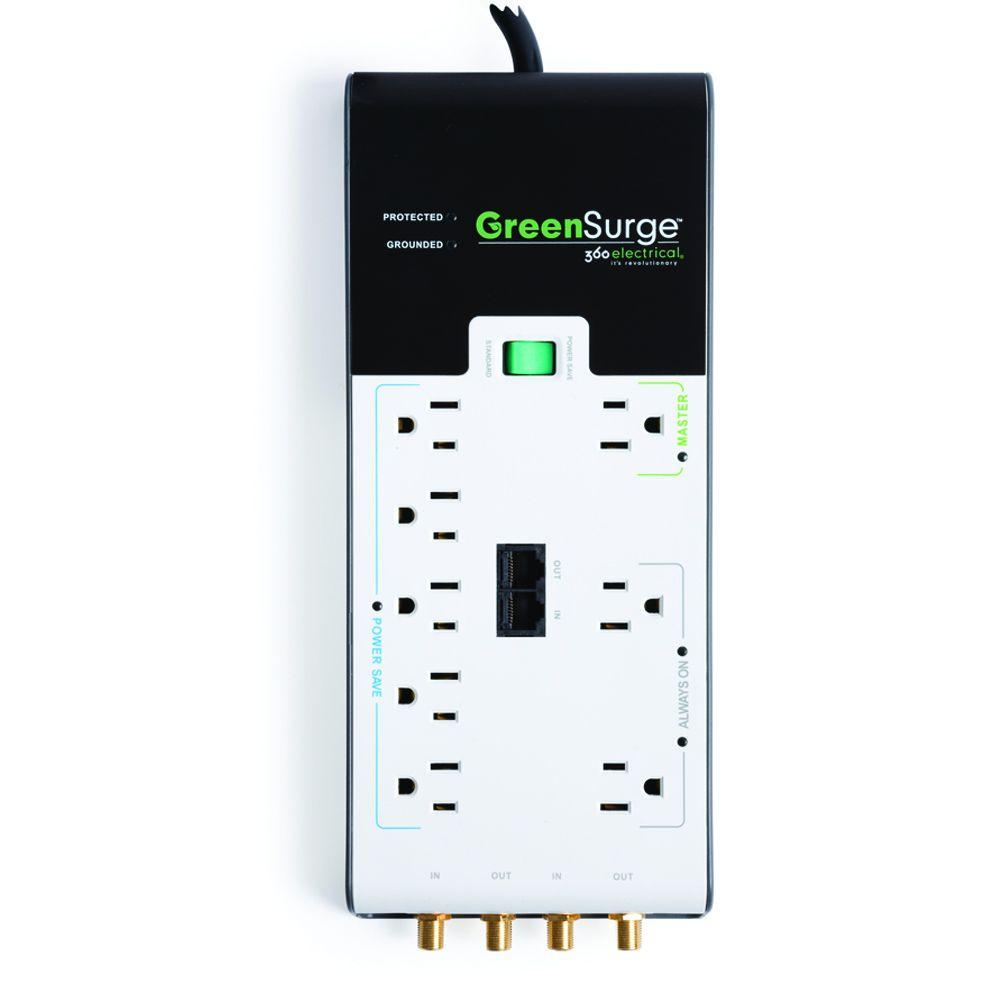 360 Electrical 8-Outlet Surge Protector with Coax and Network Protection - Green