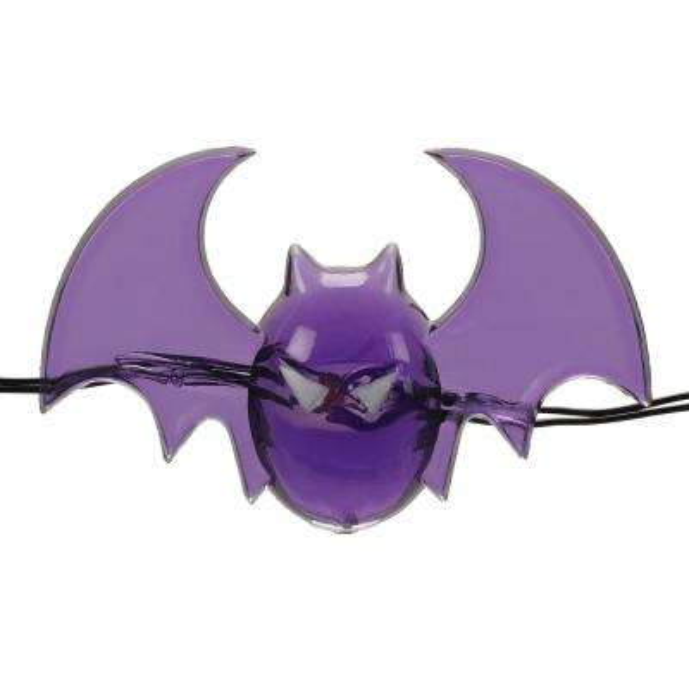 6 ft. 18 Warm White LED Halloween Bat Lights with Timer