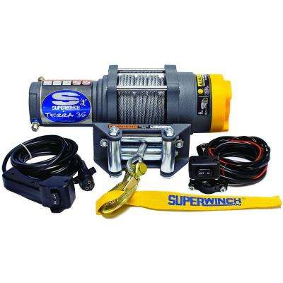 Terra Series 35 12-Volt ATV Winch with 4-Way Roller Fairlead and 10 ft. Remote