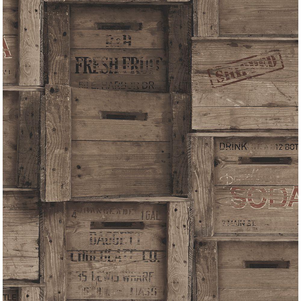 Brewster Dark Wood Crates Distressed Wood Wallpaper 2701-22350