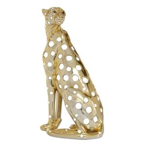 7 in. x 16.25 in. Gold Polystone Sitting Leopard With Mirrored Spots