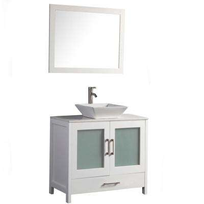 Jordan 36 in. W x 18.5 in. D x 36 in. H Vanity in White with Quartz Vanity Top in Off-White with White Basin and Mirror