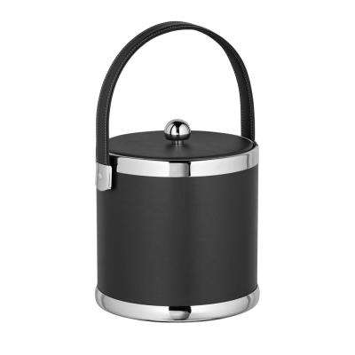Contempo 3 Qt. Black Ice Bucket with Stitched Handle and Flat Vinyl Lid