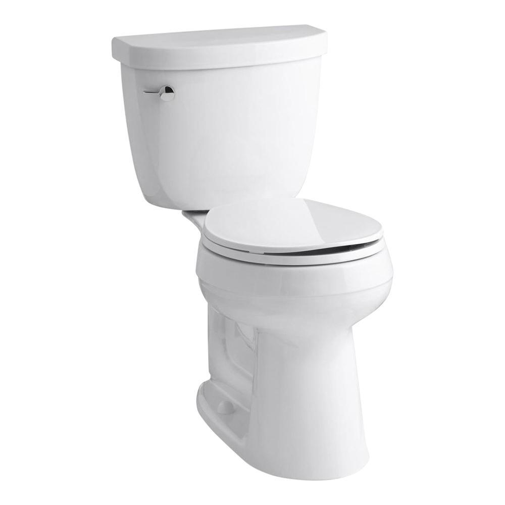 KOHLER Cimarron Comfort Height 2-Piece 1.28 GPF Single Flush Round Toilet with AquaPiston Flush Technology in White