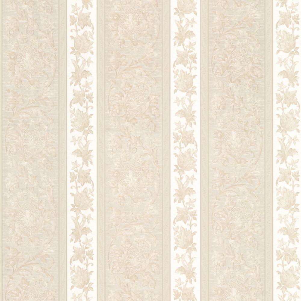 Sublime Cream Scroll Stripe Wallpaper