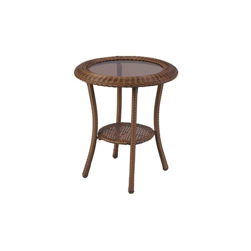 Outdoor side tables patio tables the home depot brown all weather wicker patio round side table watchthetrailerfo