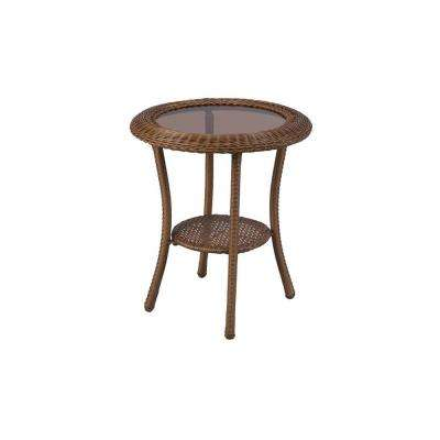 Spring Haven 20 in. Brown All-Weather Wicker Patio Round Side Table