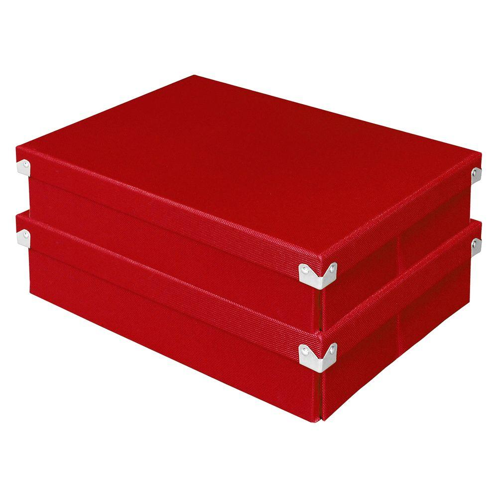Document Box with Lid Red (2-Pack)