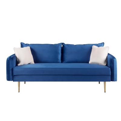 70 in. Blue Velvet 3-Seater Streamlined Outer Seams Sofas with Convertible