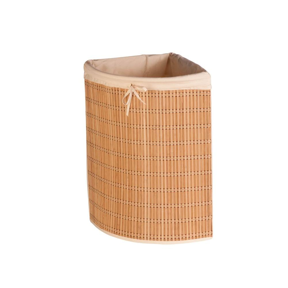 Honey Can Do Bamboo Wicker Corner Laundry Hamper